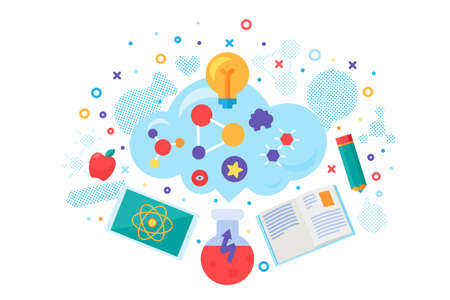 School online educational course banner vector. Distance education, internet studying and training. Chemistry and physics, literature and mathematics lesson. Study time flat cartoon illustration