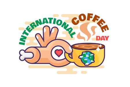 International coffee day world celebration vector. Hand holding cup with aromatic energy hot beverage, love drink with caffeine. Mug with espresso or latte flat cartoon illustration Illusztráció