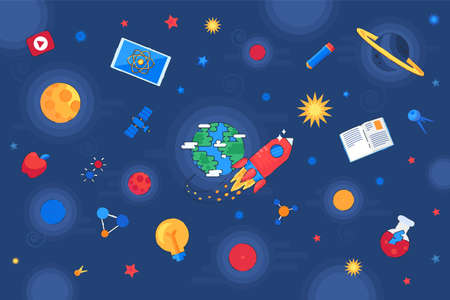 Knowledge and education universe galaxy vector. Research and discovery space. Flying rocket and satellite, planet and star, educational book and laboratory flask. Flat cartoon illustration Illusztráció
