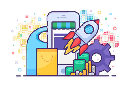 Mobile sale store launching application vector. Internet shop phone app development business process, marketplace electronic commerce. Launch rocket, smartphone device and shopping bag