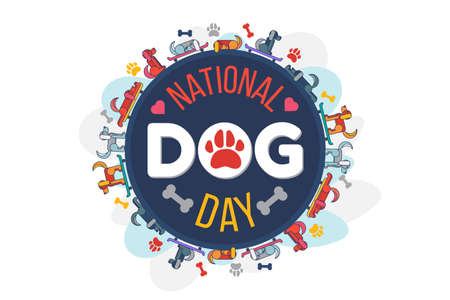 Dog day national holiday celebration. Cute pet laying and riding skate board, doggy paw and bone eat, icon decorated heart. Domestic animal festival event flat cartoon illustration