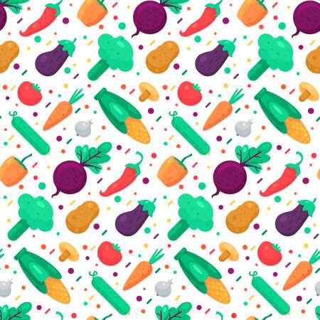 Organic vegetables food seamless pattern vector. Spice chili and pepper, cucumber and mushrooms, corn and tomato, garlic and potato color texture. Natural carrot, beet and eggplant flat illustration Illusztráció
