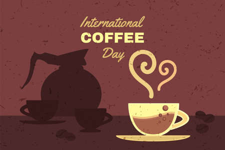 International coffee day advertising banner vector. Cup with aromatic energy hot drink, roasted bean and pot with brewed beverage. Mug with delicious espresso flat cartoon illustration
