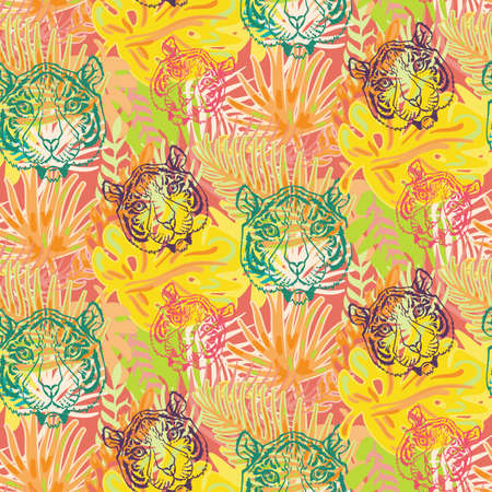 Tiger and plant leaves seamless pattern vector. Animal wild cat muzzle and tropical tree forest, beast head and growth palm. Jungle wildcat predator wildlife and nature flat illustration Illusztráció
