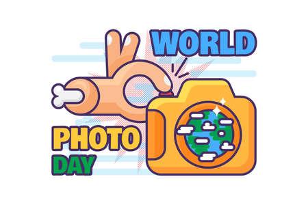 World photography day celebration holiday vector. hand making photo with digital camera device. Worldwide international festive event. Media profession celebrate flat cartoon illustration
