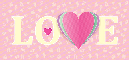 vector card LOVE with colorful leyered heart on pink background Illustration