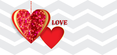 vector card LOVE with sparkling heart on white striped background Illustration