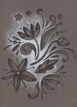 Hand drawn illustration with chocolate flowers white highlight on brown textured paper. Stock Photo