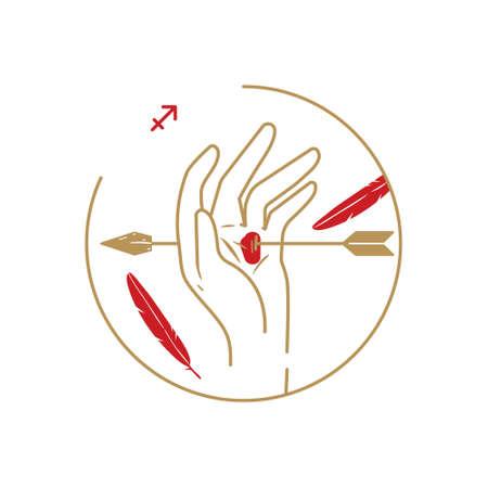 Zodiac circle symbol. Sagittarius.
