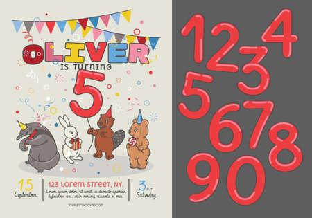 #89519884   Einladungskarte Für Kindergeburtstag. 4 Tiere: Ameisenbär,  Biber, Bär Und Hase. Vorlage Mit Zahlen.