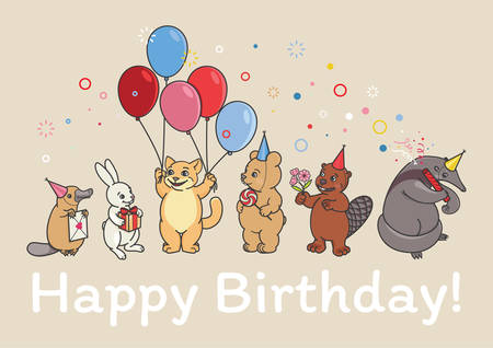 An animals party, a beaver holds a bouquet of flowers, a lollipop bear, an anteater launches a cracker, a cat holds five balloons, a platypus holds a letter, a rabbit brought a gift with a red ribbon. Ilustração