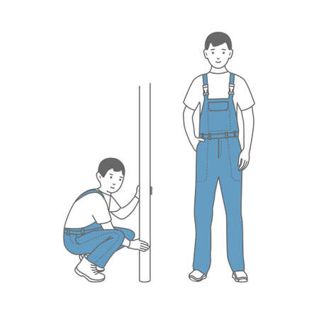 Two figures of male workers in overalls. Locksmith.