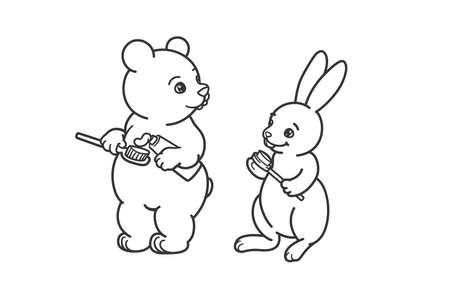 The bear and the hare are brushing their teeth. Coloring, illustration for activity book. Illustration of oral hygiene.