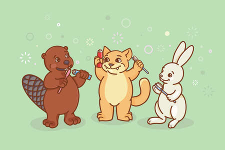 The beaver, the cat and the hare are brushing their teeth. Coloring, illustration for activity book. Illustration of oral hygiene.