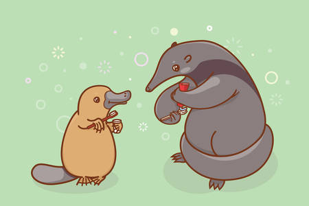 platypus: The ant-eater and the platypus are brushing their teeth and ... beak. Coloring, illustration for activity book. Illustration of oral hygiene.