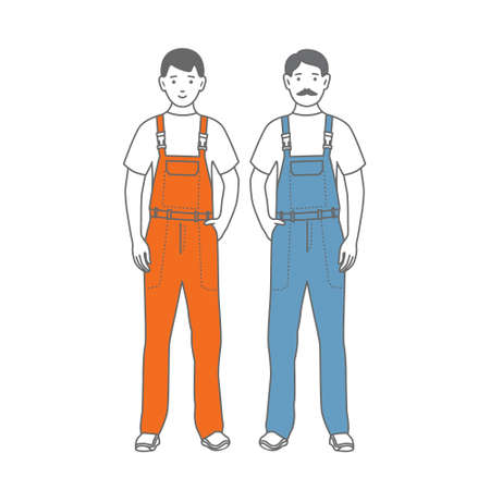 Two male workers in blue and orange overalls .