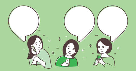 Three women are being exchanged messages, women talk, chat.