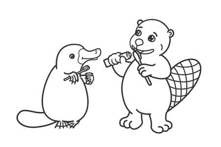 The beaver and the platypus are brushing their teeth. Illustration