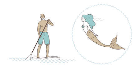 Man and woman mermaid illustration.