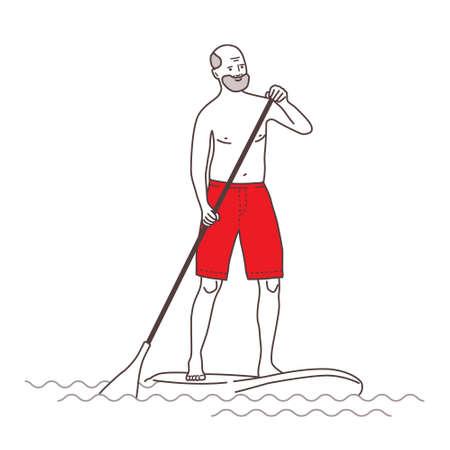 Old man  paddling man illustration.