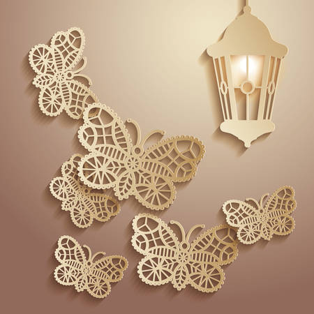 Paper graphics Illustration of lace butterflies flying to the light of a lantern. Vectores