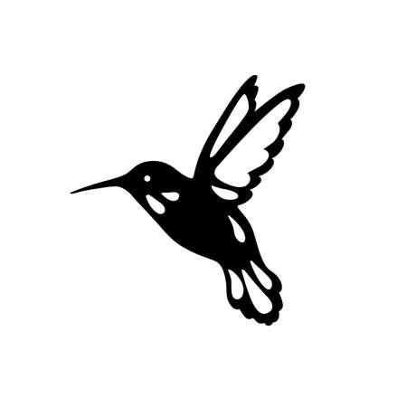 Ptak kolibrów, kontur, czarny cień, cięcie laserowe.