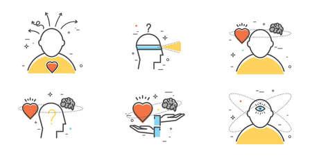 直感、洞察力、期待、選択のフラットなデザインセット。直感的なシンボル。  イラスト・ベクター素材