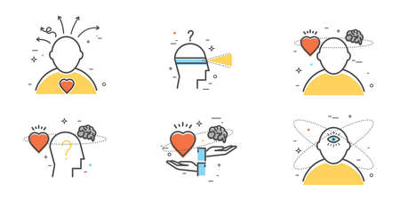 Flat design set of intuition, insight, anticipation, choice. Intuitive symbol.