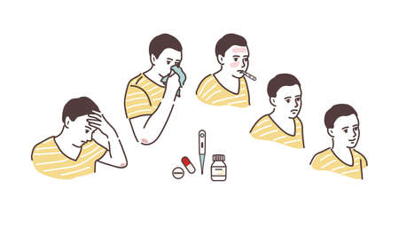 Illustration of a sickly condition headache, high body temperature, runny nose. Cold symptoms. Recovery.