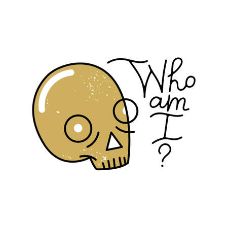 One line tatoo illustration of a skull with the inscription Who am I