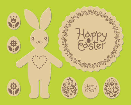 Easter bunny rabbit. Happy Easter laser cut pattern. Laser cutting template for plywood.