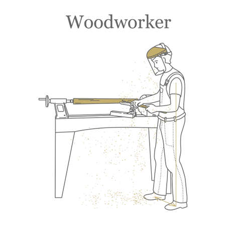 Turner trabalha atrás de um torno, processa uma barra de madeira. Ilustração do vetor de contorno.