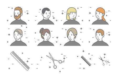 A set of eight portraits of men and women with different hairstyles in a beauty salon. Ole line Scissors and Comb icons. Vettoriali