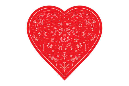 Vector illustration for Valentines day, heart, icons, small details, microscopic signs