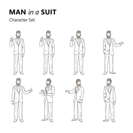 Stylized characters set bearded man in a suit. Line art illustration of a businessman. A man stands and gesticulates