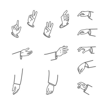 Set of various hand gestures isolated on a white background.