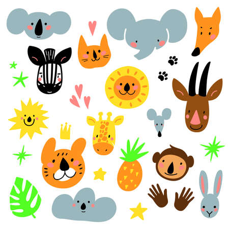 Cartoon animal heads set. Modern concept of flat design for kids cards, banners and invitations. Hand drawn vector illustration. Illustration