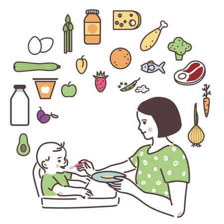 Mam voedt de baby met een lepel.