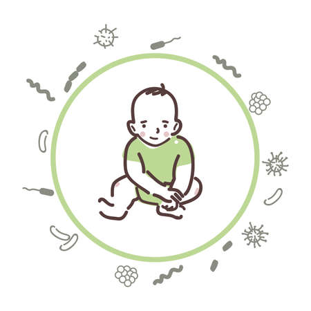 Baby is protected from bacteria and viruses. Stock Illustratie