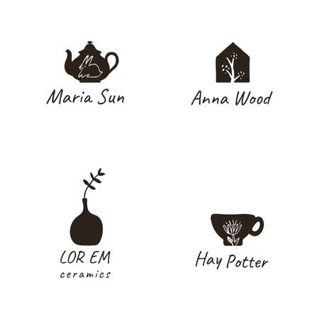 Simple, elegant and stylish collection of modern hand drawn logos and illustrations, craft and handmade concept