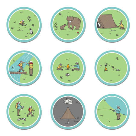 Signs about the camping theme. Bears, tent installation, nature observation, dog training, map, orienteering, sleeping in the forest, cross country traffic, campfire, fishing. Miniature. Çizim