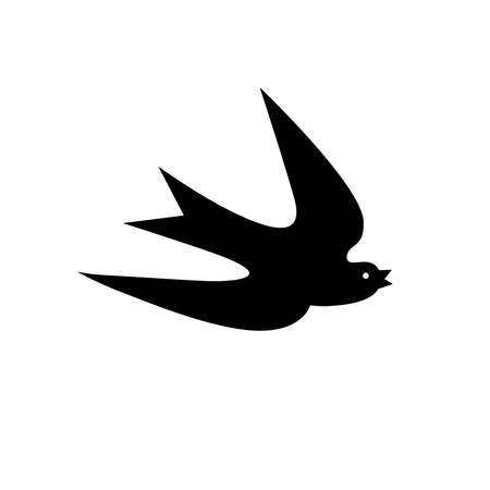 The outline, the shadow of a swallow in flight. Logo, symbol, sign, laser cutting path.