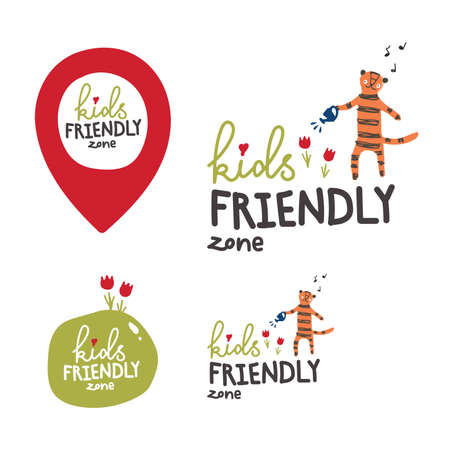 A sign of the territory intended or safe for children. Logo with a tiger watering flowers. Geo tag of a child s place. Children s drawing style.Tiger in the garden. Illustration
