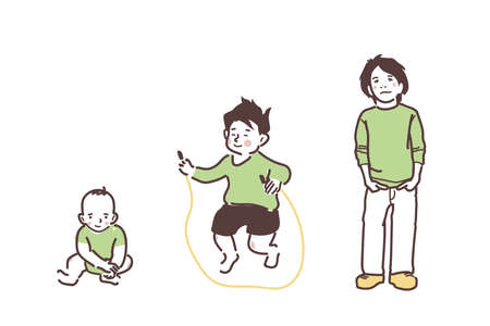 Boy. Baby, preschooler and schoolboy. An illustration of growing up. Children in green clothes.