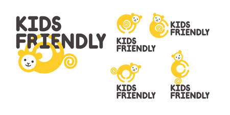 A sign of the territory intended or safe for children. Logo with a monkey. Kids friendly simbol. Animal logo element.
