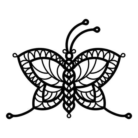 Butterflie. One line illustration of crocheted, lacy, patterned butterflies Illustration