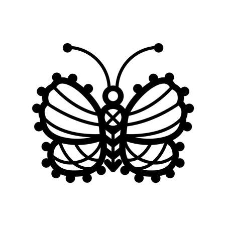 Butterflie. One line illustration of crocheted, lacy, patterned butterflies Standard-Bild - 114942053
