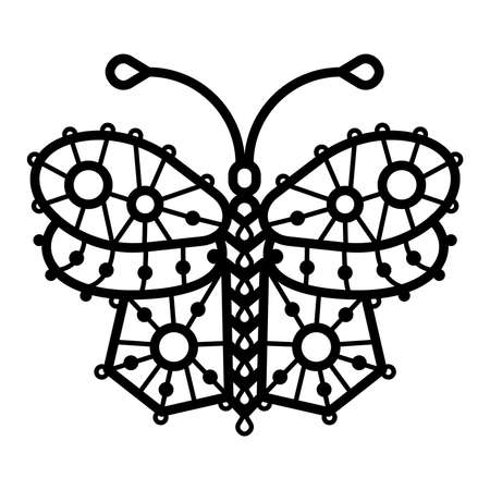 Butterflie. One line illustration of crocheted, lacy, patterned butterflies Çizim