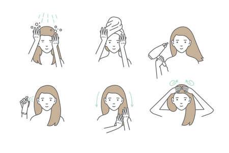 Frau kümmert sich um ihre Haare. Schritte zum Auftragen der Haarmaske. Vektor isolierte Illustrationen eingestellt. Vektorgrafik