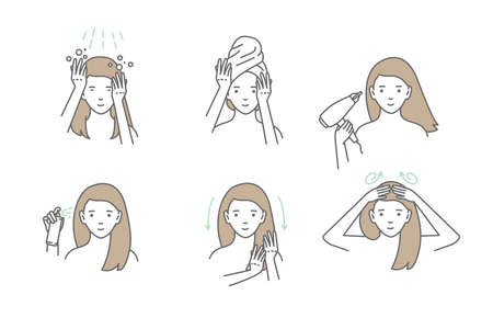 Woman take care about her hair. Steps how to apply hair mask. Vector isolated illustrations set. 矢量图片